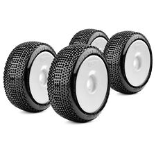 COMPLETE SET BUGGY RACING TYRES Revenger Super Soft 1:8 with Dish Rims White