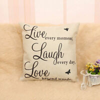 Live Laugh Love Quote Cushion Cover Decor Cotton Linen Throw Case Pillow P2M2