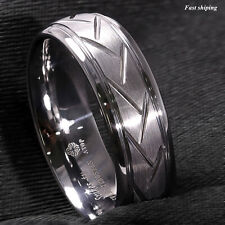 8mm Dome Silver Warrior Brushed Center Tungsten Ring Bridal Band ATOP Jewelry