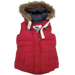 Superdry Womens Ladies University Gilet Hooded Quilted Padded Red Body Warmer 8