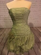 Vtg Gunne Sax Jessica McClintock Green Metallic Strapless Prom Cocktail Dress 3