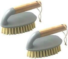 Pack of 2 Bamboo Scrub Brush for Cleaning Bathroom Kitchen Home All Purpose