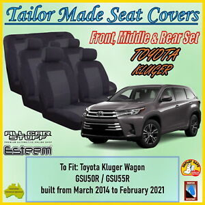 Tailor Made Seat Covers for Toyota Kluger Wagon (3 Rows) from 03/2014 to 02/2021