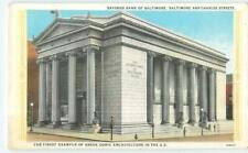 Baltimore MD Savings Bank Charles St. Greek Doric 1920s Antique Postcard 26568