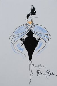 Pierre Cardin: Dress Bodycon Capée - Illustration High Sewing Signed, 1987