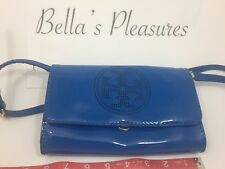 Authentic Beautiful Tory Burch Jelly Blue Patent Leather Purse