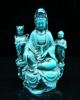 Hand-Carved Statue Chinese Natural Turquoise Kwan-yin Religion Green