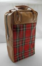 Vintage Tan/Red Plaid Thermos Picnic/Travel Set:Thermos,Sandwich Box,Zip Top Bag