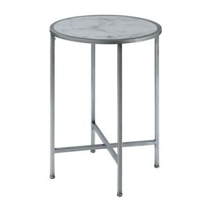 Convenience Concepts Gold Coast Marble Round End Table, Marble/Silver - 413455S
