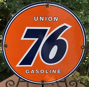 VINTAGE UNION 76 GASOLINE PORCELAIN ENAMEL GAS PUMP OIL SERVICE STATION SIGN