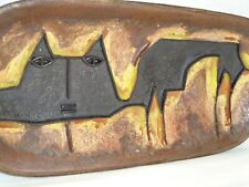 Vtg Mcm Brutalist Cat Art Pottery Relief Tray Attribute To Fantoni / Raymor