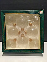 Vintage Box Clear Glass Ball Christmas ornaments Christmas by Krebs 8 ct USA