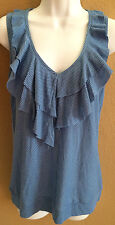 NEW DKNY jeans blue Small striped ruffle front tank top shirt women's size S
