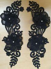 Black Embroidered Floral Sew-On Applique/Detail/Trim- C1050