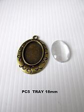 PC5 5pcs 18x25mm bronze colour oval pendant setting + glass jewellery making UK
