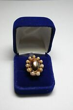 Mabe Black Pearl Vintage Ring South Seas Cultured Pearls Vintage 18k Gold