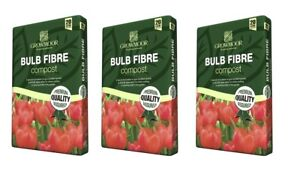 3 Bags Of Growmoor Bulb Fibre Potting Compost Garden Growing Media 20L Each