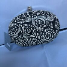 Stunning Hard Case Clutch Evening Party Prom Wedding Bag Black And Silver