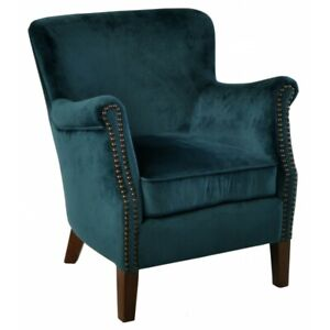 Ancient Mariner Armchair in Blue Velvet - Small Comfy Handmade Armchair