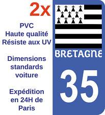 2X Stickers Autocollant Département 35 Ille-et-Vilaine Bretagne immatriculation