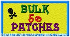 CUSTOM/MADE TO ORDER SPECIAL BIKER EVENT RALLY PATCHES- 50 - BULK DEAL