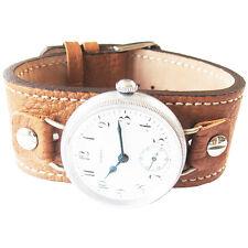 14mm Fluco Vigo Tan Riveted Leather German Military Wire Lug Watch Band Strap