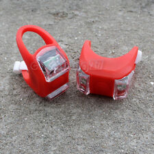 2 x Cycling Bike Bicycle Red Silicone 2 LED Frog Front Light Safety Warning Lamp