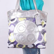 COACH Lilac Julia Op Art Lrg Canvas Leather Shoulder Hobo Tote Satchel Purse Bag