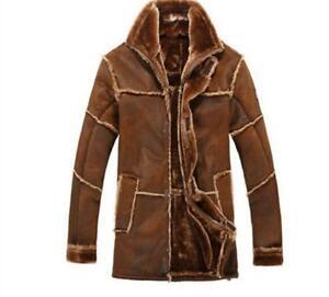 Retro Mens Winter Warm Faux Fur Furry Lined Zip Long Jacket Coats Parka Outwears