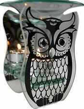 Owl Mirrored Silver Glass Tea Light Candle Holder and Oil Burner Ornament
