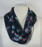 Infinity scarf, floral/striped/paisley, blue color theme (2), chiffon, handmade