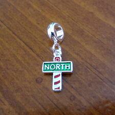 Christmas Santa RED NORTH POLE DANGLE EUROPEAN STYLE BEAD BRACELET CHARM Pandora