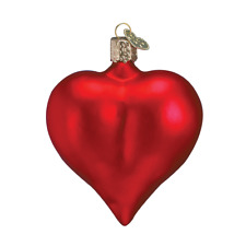 Old World Christmas Large Matte Red Heart Glass Christmas Ornament