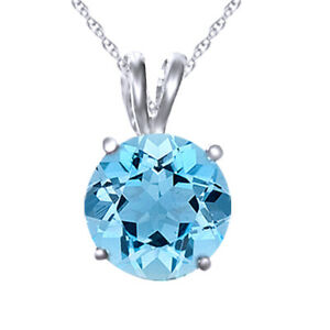 1.25 ct Aquamarine Solitaire Pendant Necklace Solid Sterling Silver