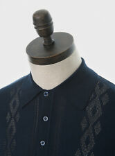 Art Gallery Clothing - Knitted Polo - NAVY BLUE XS Mod Sixties