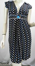 ZIMMERMANN Black Blue/Brown/White Apple Print Silk Banded Waist Dress sz 0 US XS