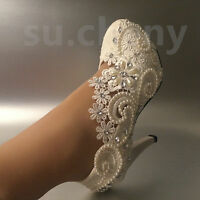 """su.cheny 2"""" 3"""" 4"""" white ivory pearl crystal lace Wedding Bridal heel pump shoes"""