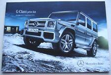 Mercedes . G Class . Mercedes G Class Price List . September 2014 Sales Brochure