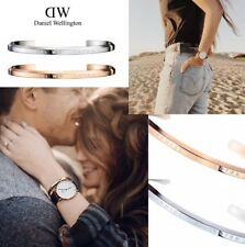2X SET DANIEL WELLINGTON CLASSIC BRACELET CUFF BANGLE LARGE ROSE GOLD AND SILVER