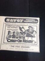 H7-1 Ephemera 1971 Film Advert Penzance Savoy Carry On Henry Sid James
