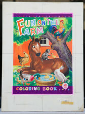 "WALTER EARLY 1947 Original Cover Art - ""Fun on the Farm Coloring Book"" (A37)"