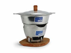 Traditional Thai metal hotpot, 19cm - with wooden base stand