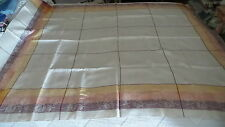 "Vintage Linen Damask Filet Tablecloth Yellow,Orange,Brown Leaf Border,68""X50"""