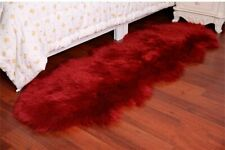 Burgundy Double 6'X2' Bedroom Faux Fur Carpet Imitate Sheepskin Rug Washable Mat