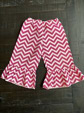 Infant Toddler Little Girls 12 Months Pink White Chevron Ruffle Bottom Pants