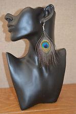 *Best quality* Genuine Peacock Feather drape earrings (1X PAIR) festival bikini