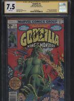 Godzilla #1 CGC 7.5 SS Trimpe 1977 1st appearance GODZILLA in comics Newsstand
