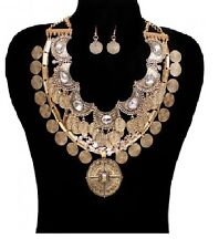 Antique Gold and Crystal Statement Necklace Set