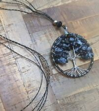 Spotted Obsidian Tree of Life Necklace Gemstone Pendant Crystal healing stones