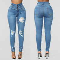 ❤️ WOMEN'S HIGH WAIST RIPPED JEANS LADIES SKINNY PENCIL JEGGINGS DENIM TROUSERS
